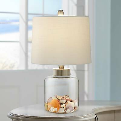 Nautical Table Lamp Clear Glass Sea Shells White for Living Room Bedroom ()