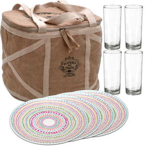 Picknickkorb mit Campinggeschirr für 4 Personen Picknicktasche Picknickkoffer