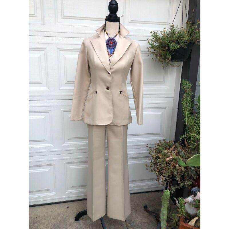 Vtg Women's Western Suit 3 Pc Beige Vest Jacket SZ S