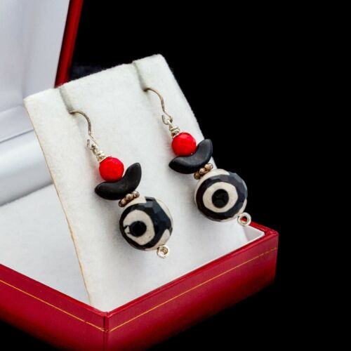 Antique Vintage Deco 925 Sterling Silver Glass Bead Red Geometric Earrings 10.3g