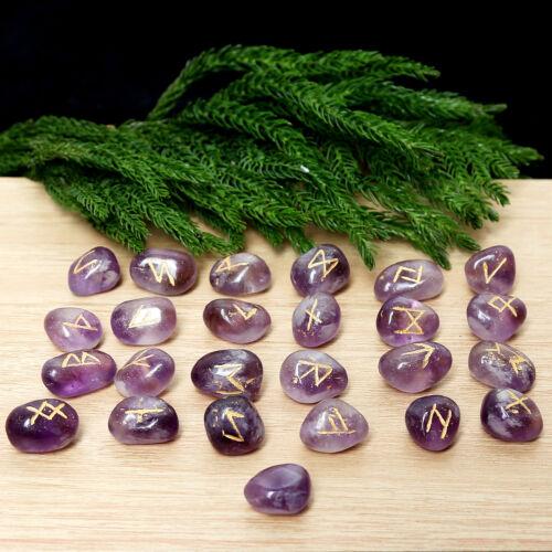 Natural Purple Amethyst Stone Rune Set Healing Reiki Tumble Stones Set of 25 PC