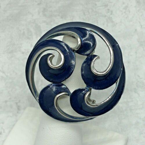 Awesome Vintage Brooch Open Weave Blue Enamel Swirls With Silver Tone Trim 1.5