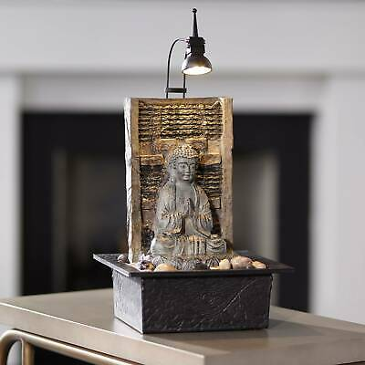 """Zen Buddha Indoor Water Fountain 11 1/2"""" Waterfall with LED Light for Table Top"""