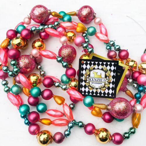 Peachy Keen Pink Blue Vintage Czech Blown Mercury Glass Christmas Garland