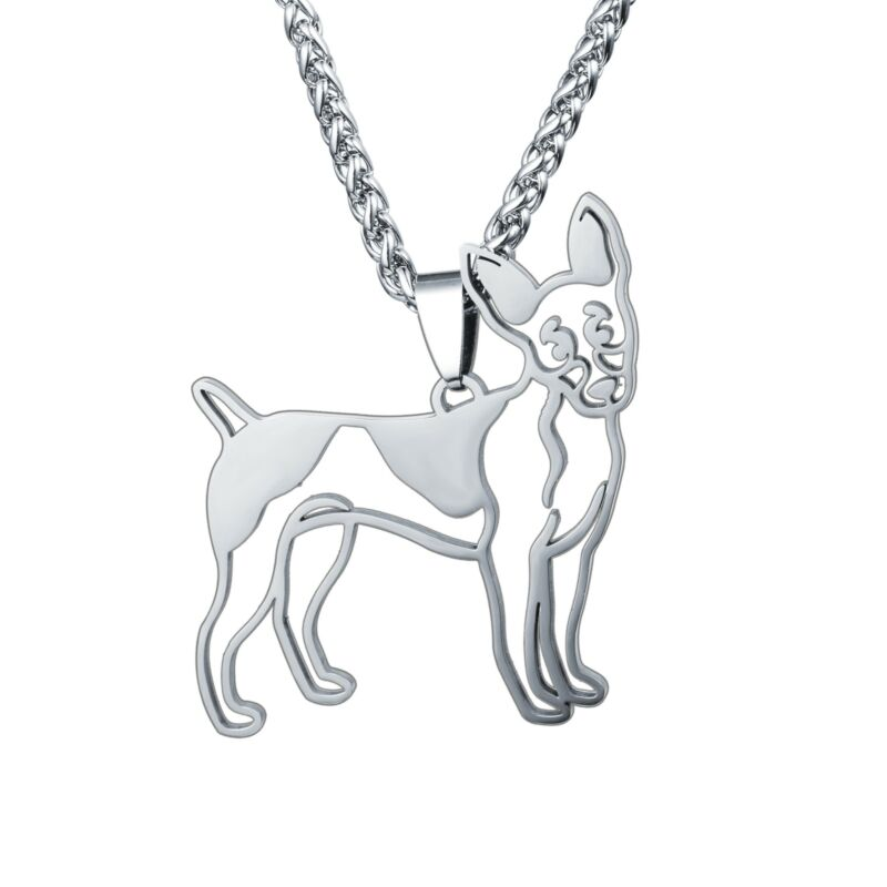 NEW Stainless Steel American Rat Terrier RT Rattie R-Poodle Dog Pendant Necklace