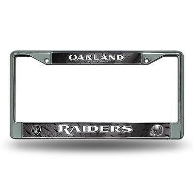 Oakland Raiders Metal Chrome License Plate Frame Auto Truck Car Nfl