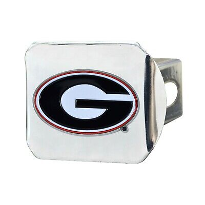 Fanmats NCAA Georgia Bulldogs Color 3D Chrome Metal Hitch Cover Del. 2-4 Day