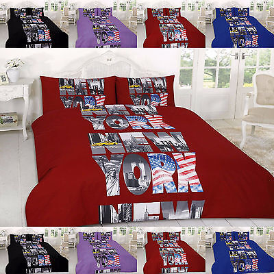 New York Duvet Cover Set Single Double Super King Size Printed Quilt Bedding Set
