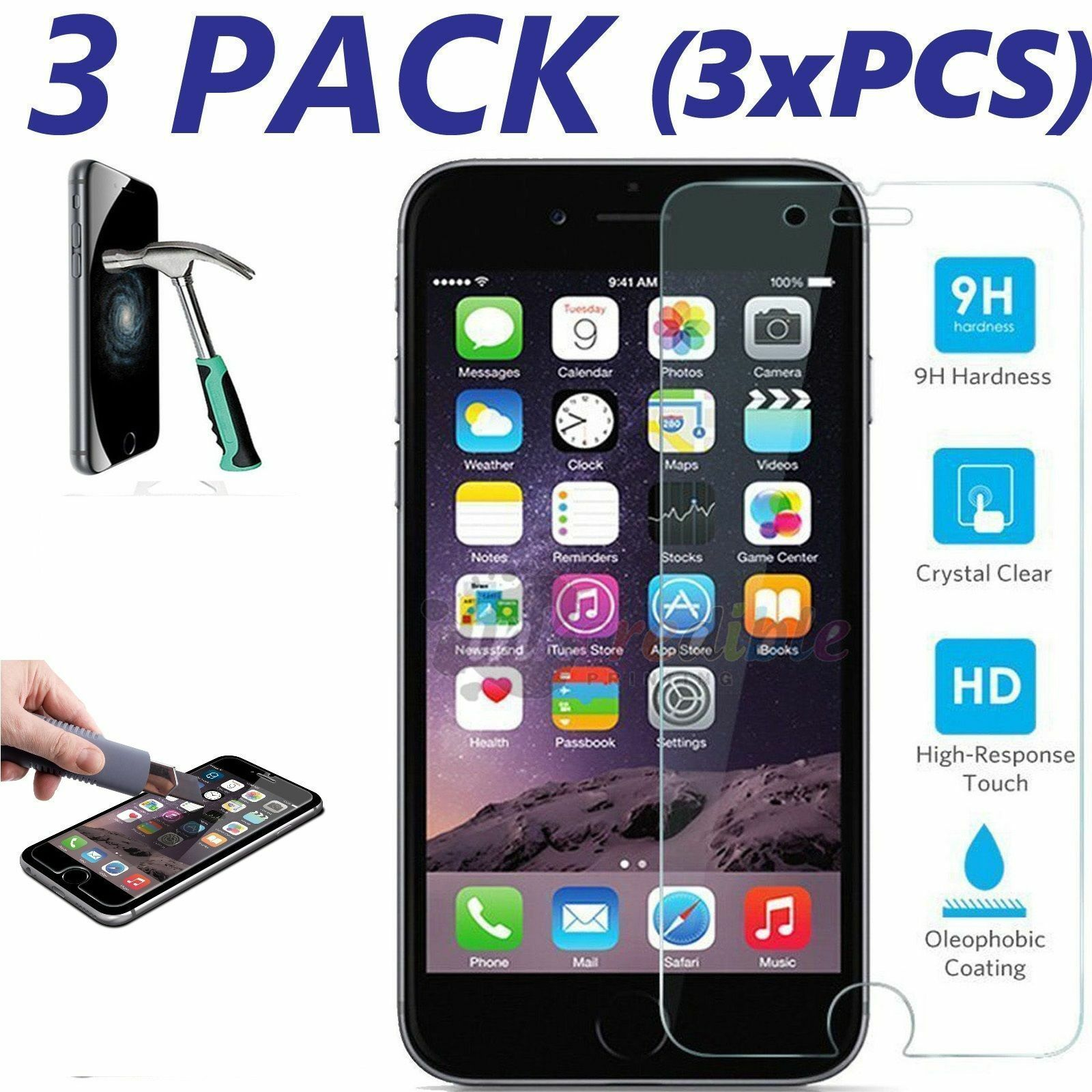 For iPhone 8 Plus / 7 Plus Premium Tempered Glass Clear Screen Protector [3pcs] Cell Phone Accessories