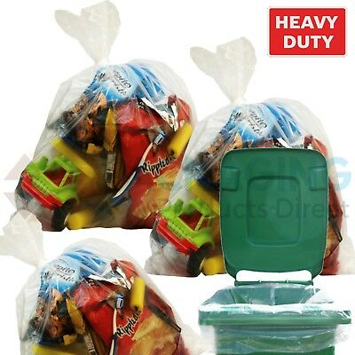 50 x Large CLEAR Refuse Sacks Bin Liner Rubbish Bags thick 160g 18x29x39