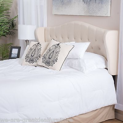 Contemporary Adjustable Beige Fabric Headboard for King/Cal-King