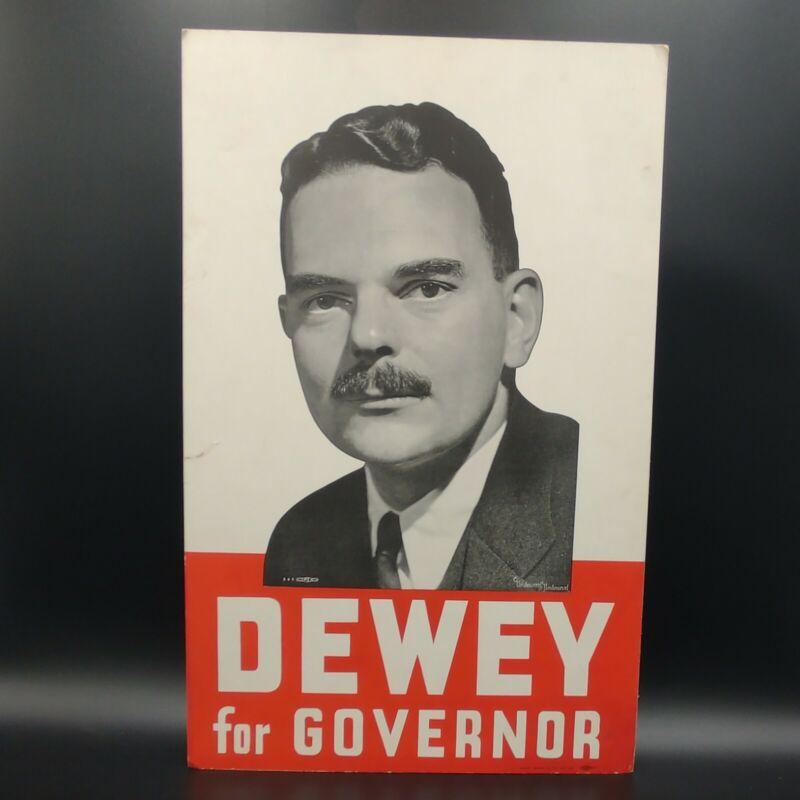 Vintage 1938 New York Governor Thomas Dewey Political Poster