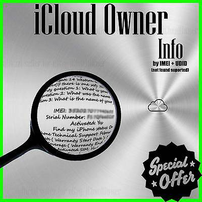 Icloud Apple Id Owner Info Finder By Imei Udid  All Supported  Premium Worldwide
