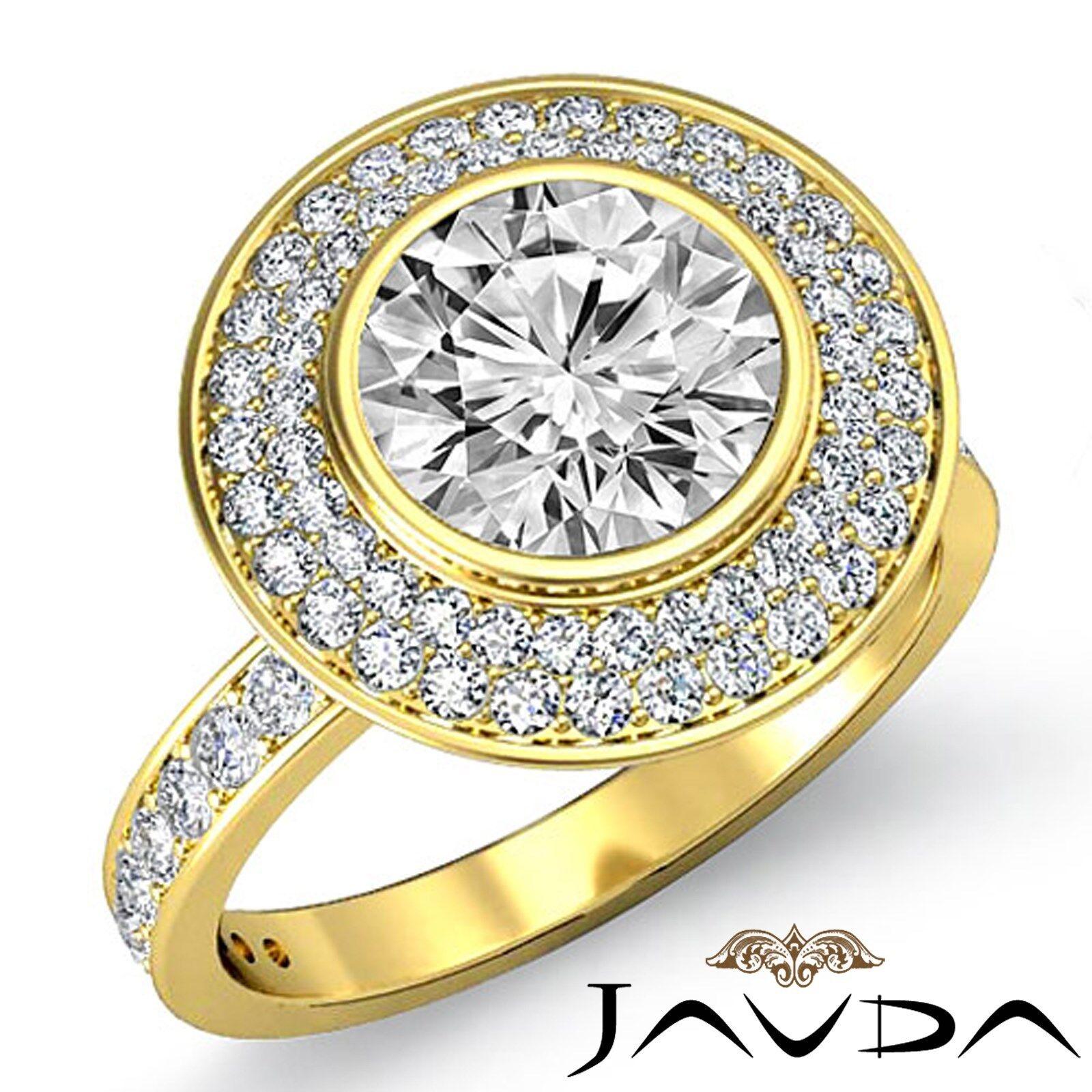 Double Halo Round Cut Diamond Engagement Pave Bezel Seting Ring GIA I SI1 2.25Ct