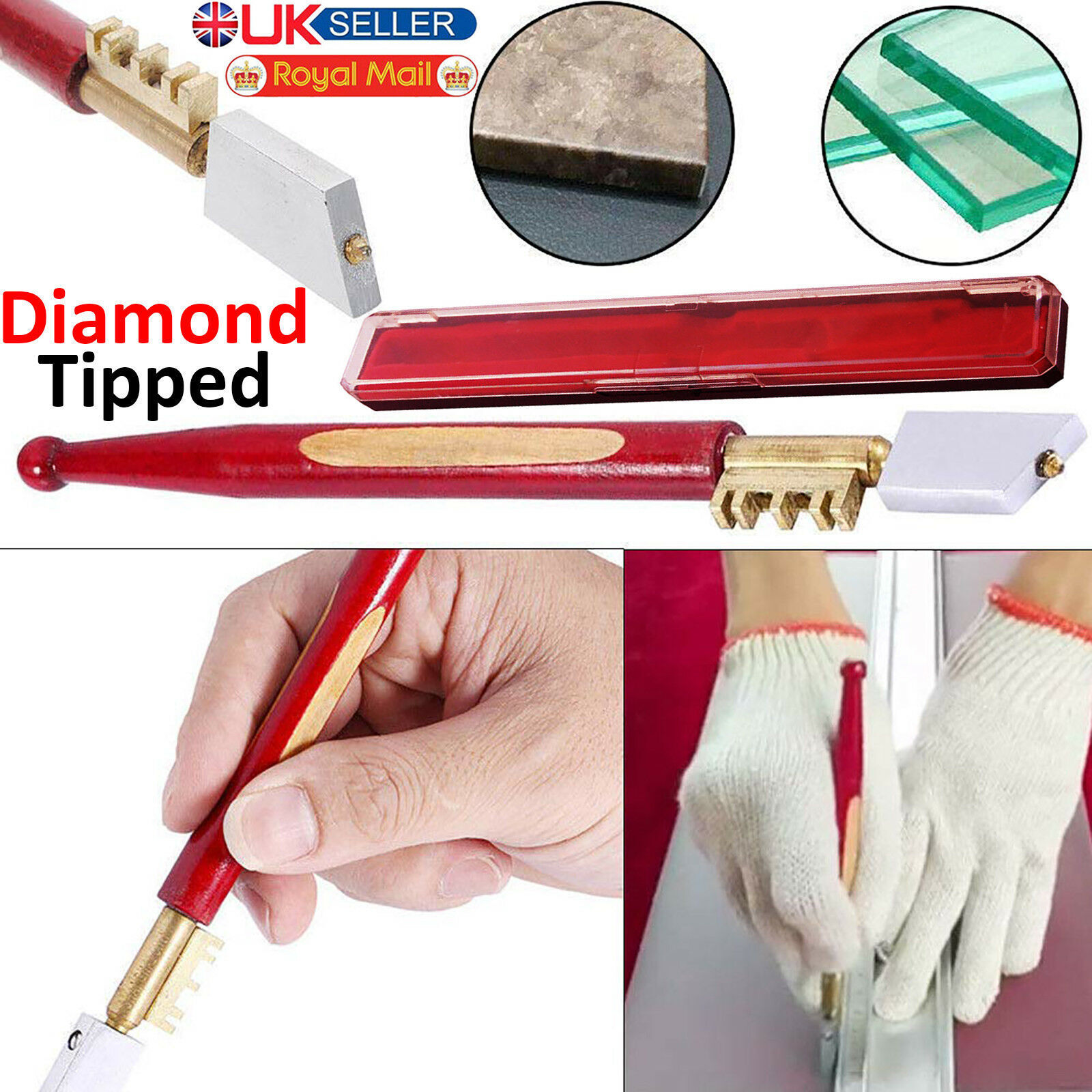 PROFESSIONAL SHARP DIAMOND TIP GLASS CUTTER WINDOW MIRROR GLAZING CUTTING TOOL
