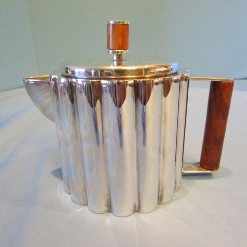 Ilonka Karasz Teapot Circa 1928 Art Deco Silver Plate  Wood Paye Baker  Rare