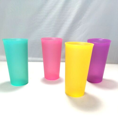 Vintage Lot of 4 Tupperware Pastel Tall Stackable Multi Color Tumblers #116 EUC