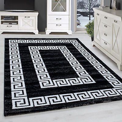 Designer Rug Modern Lurex Versace Border Short-Pile Mottled Black White