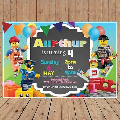 Personalised LEGO CITY Kids Party Invites Invitations DIGITAL - YOU - Party City Invitations