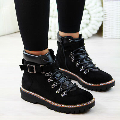 New Womens Biker Ankle Boots Lace Up Zip Low Heel High Top Shoes Sizes 3-8 Lace Up Biker Boots