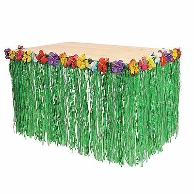 Hawaiian Luau Green Table Grass Flower Skirt 9FT Hibiscus Party Decorations  - Hawaiian Table Decorations