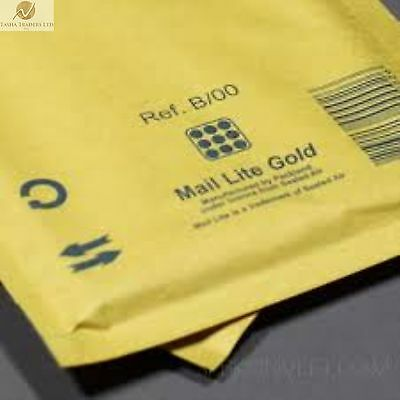 200 B00 B/00 Gold Brown 120mmx210mm Padded Bubble Wrap Postal Bags Envelopes