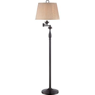 "Quoizel Abbey 59"" Traditional Floor Lamp w/ Swing Arm Palladian Bronze Q1630FPN"
