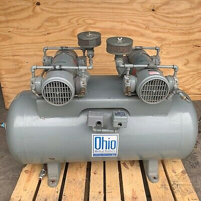 Ohio Medical Airco Air Compressor 1 12 Hp 62.3 Gallon Air Dryer 208v 3 Phase