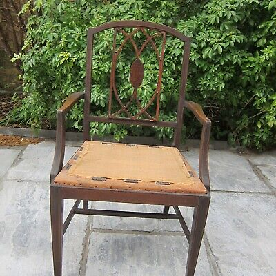 ANTIQUE  EDWARDIAN MAHOGANY  ARMCHAIR  - in need of restoration