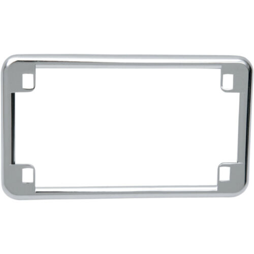 Motorcycle Chrome Silver Steel Smooth Plain 4 Hole License Plate Tag Trim Frame