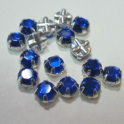 Preciosa Czech Rose Montees Sapphire Blue 4mm SS20 SP Silver Plated 25 Beads