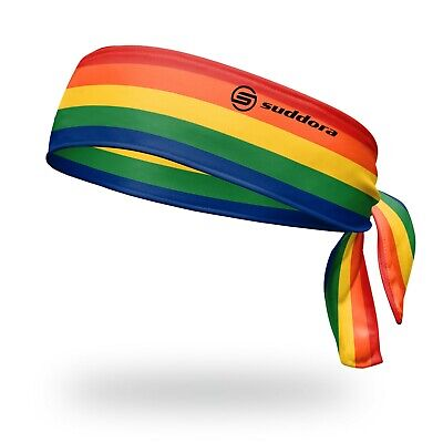 rainbow tie headband sweatband made in usa