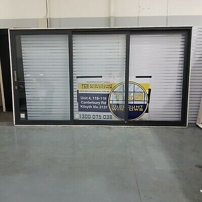 Aluminium Stacking Door 2385H x 4335W (Item 4755) Monument DOUBLE GLAZED