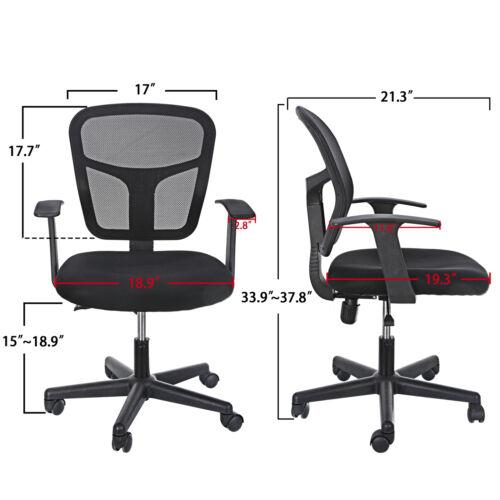 Black Ergonomic Executive Mesh Chair Swivel Mid Back Office Chair Computer Desk  2