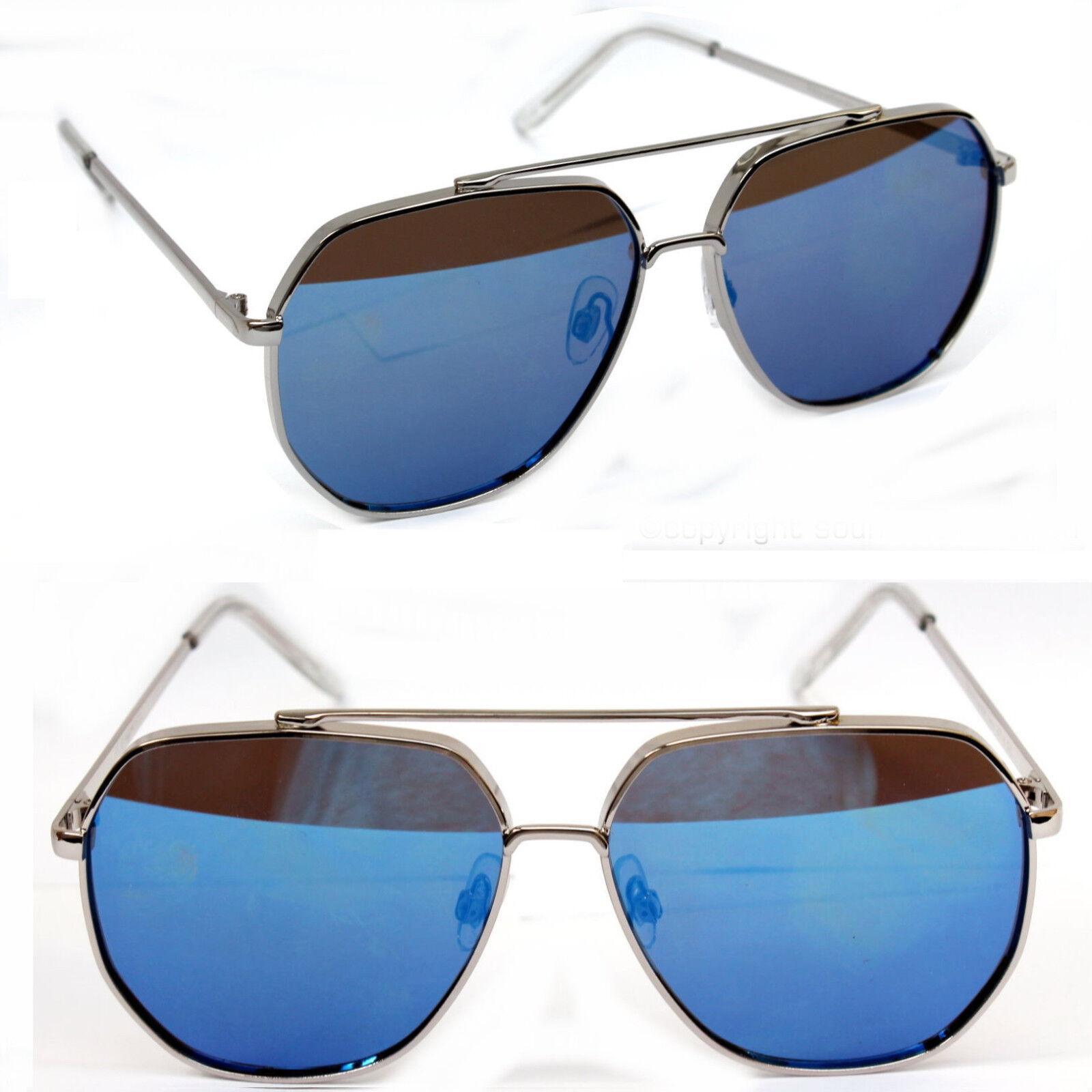 Herren Damen Nerd Sonnenbrille Pilotenbrille Fliegerbrille Blau verspiegelt