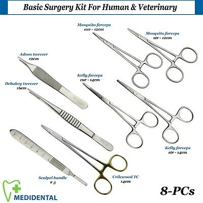 SURGICAL Basic Surgery Kit For Human & Veterinary Dental Artery Halsted Forceps