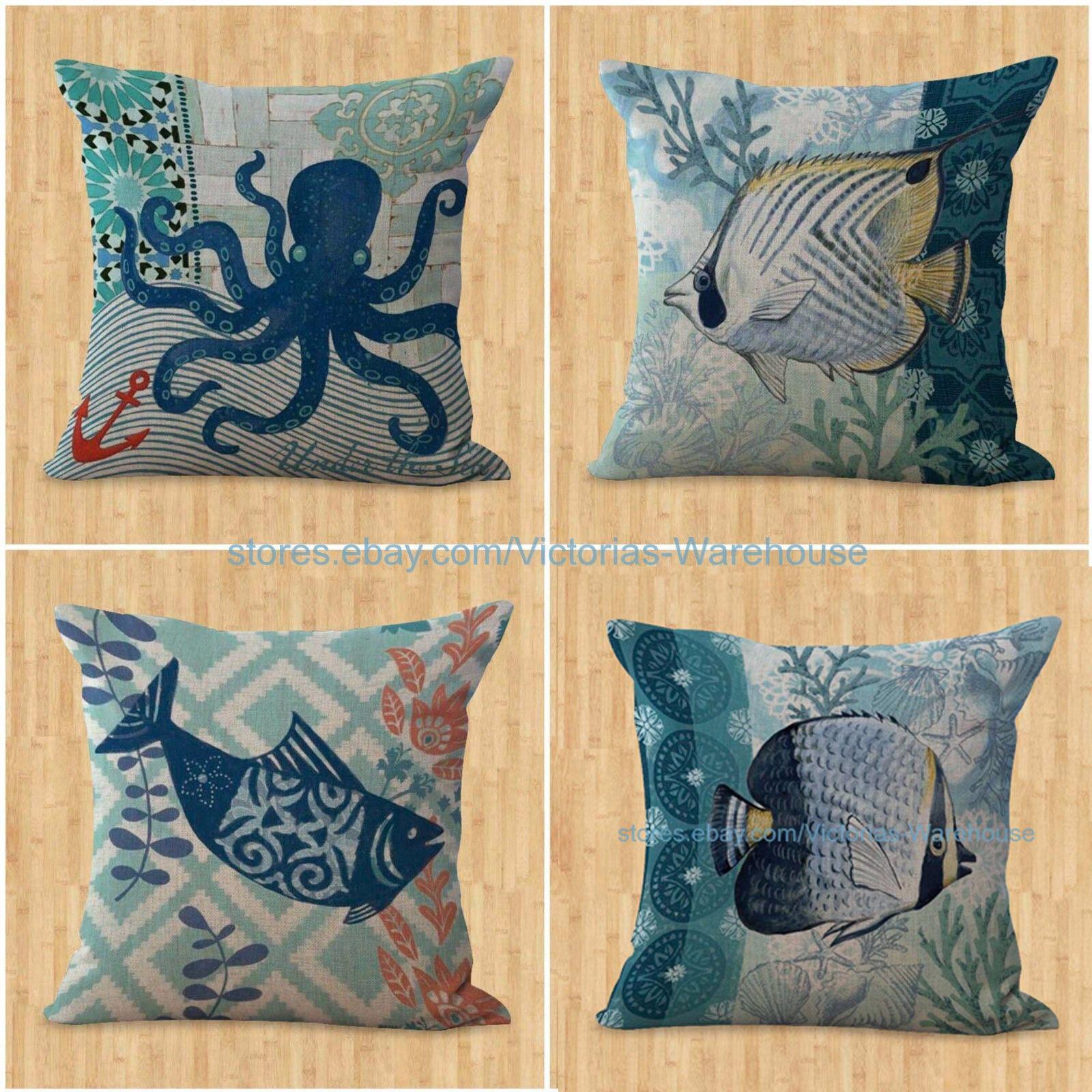 set of 4 cushion covers beach coastal