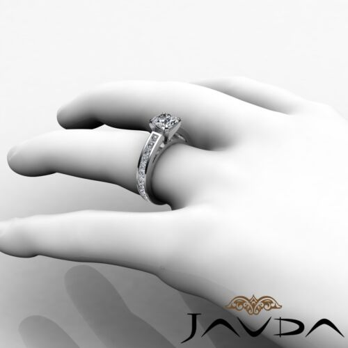 Round Brilliant Diamond Engagement Channel Ring GIA F SI1 14k White Gold 2.7ct 4