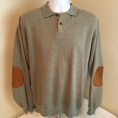 Orvis Mens Polo Sweater Cotton Blend Green Diagonal Pattern Elbow Patches Large