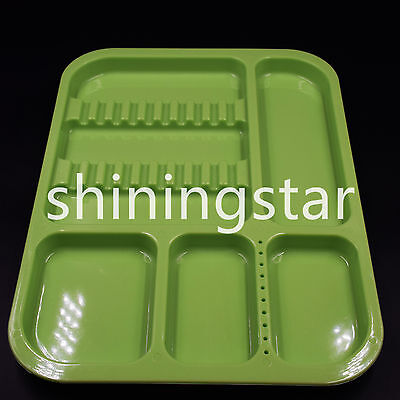 New Dental Divided Separate Type Plastic Tray Green Autoclave 135c Instrument