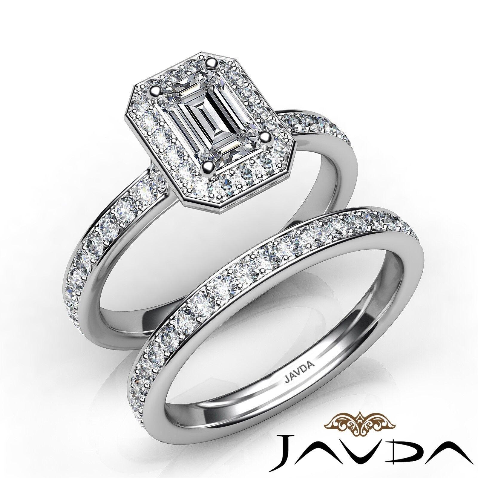 1.45ctw Halo Bridal Side Stone Emerald Diamond Engagement Ring GIA H-VVS2 W Gold