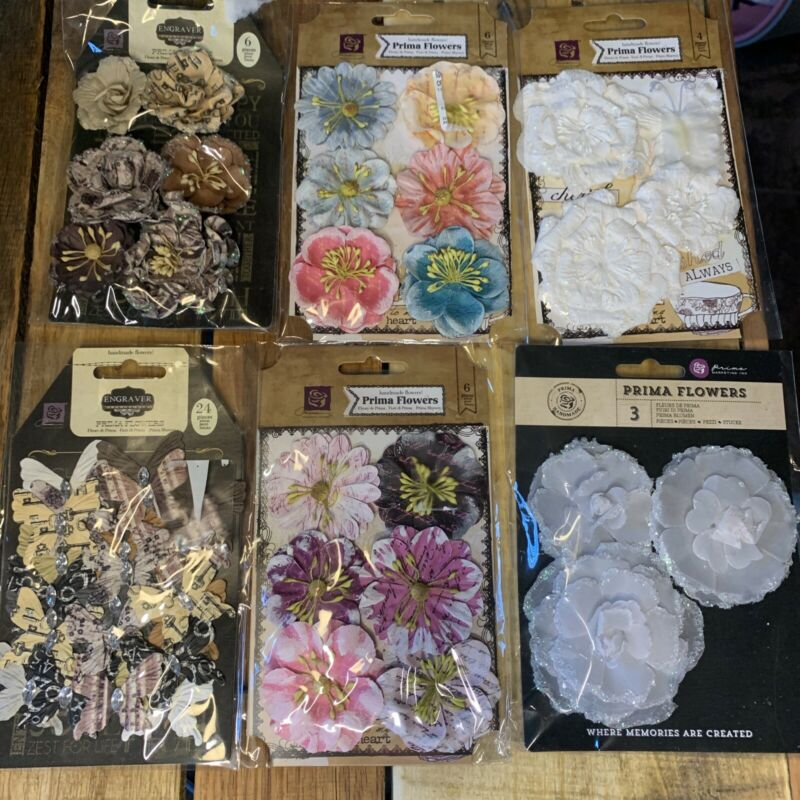 Prima Marketing Handmade Flower Roses Butterfly Scrapbooking Card Making Lot 1