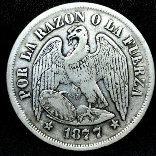 REPUBLIC CHILE 1877 SO (25 GRAM) UN (1) PESO  SILVER COIN  KM# 142.1. #2