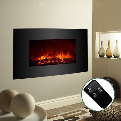 "XL Large 33""x22"" 1500W Electric Fireplace Wall Mount Heater Remote Adjustable"