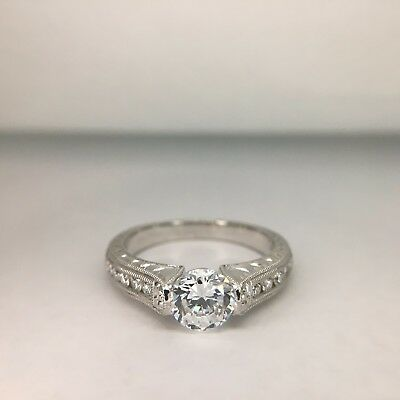 18K white gold hand engraved engagement ring with side diamonds