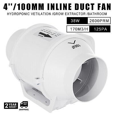 4in Duct Mixed Flow Inline Fan Bathroom Exhaust Vent Fan 170m3/h 110V Ducting Bathroom Exhaust Fan