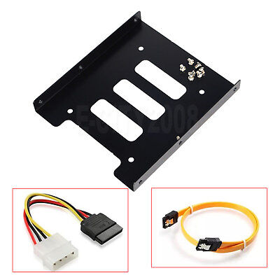 "2.5"" to 3.5"" Bay SSD Metal Hard Drive HDD Mounting Bracket Adapter Tray w/Cable"