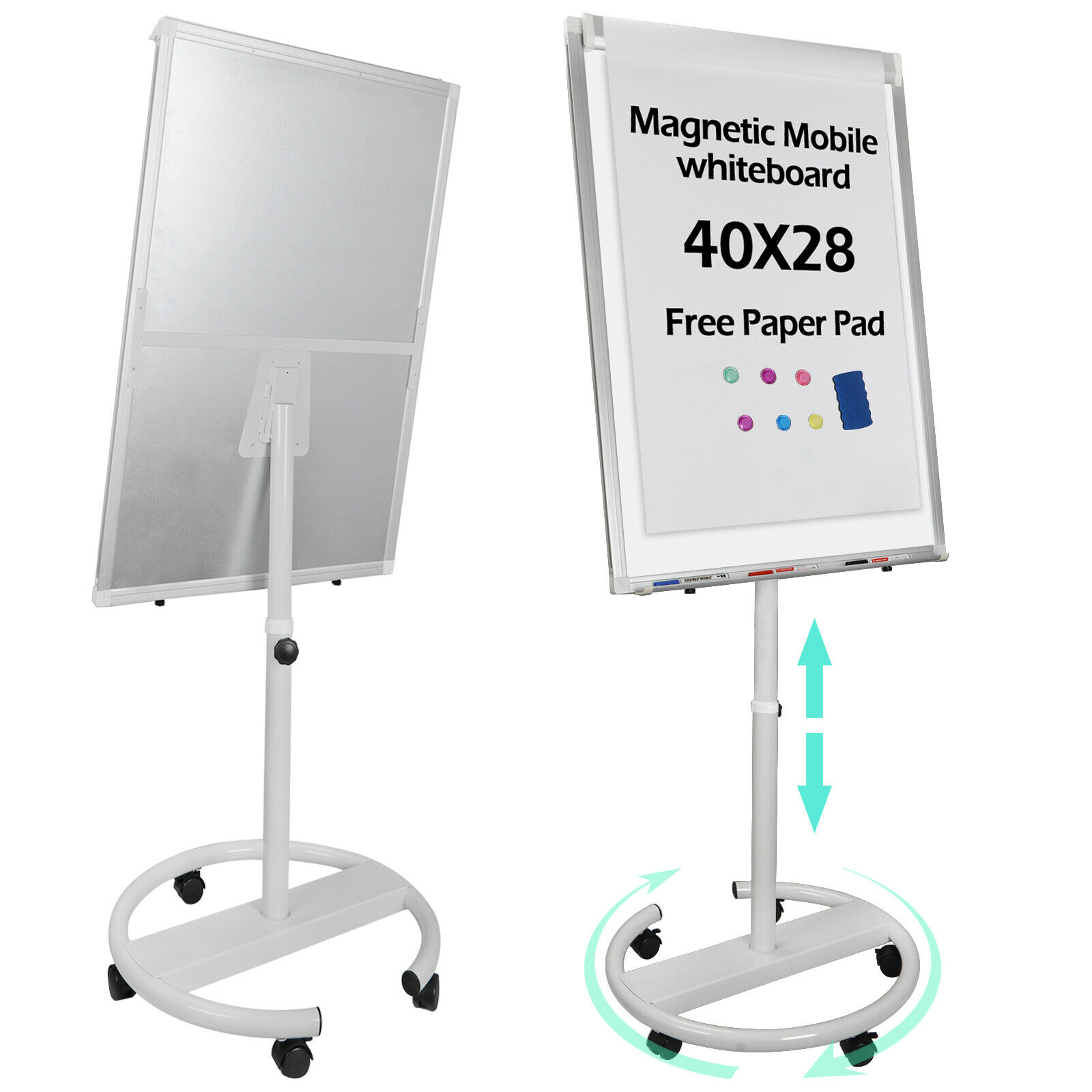 25″x36″ Around Whiteboard Dry Erase Easel Magnetic Display Board Telescopic Roll Business & Industrial