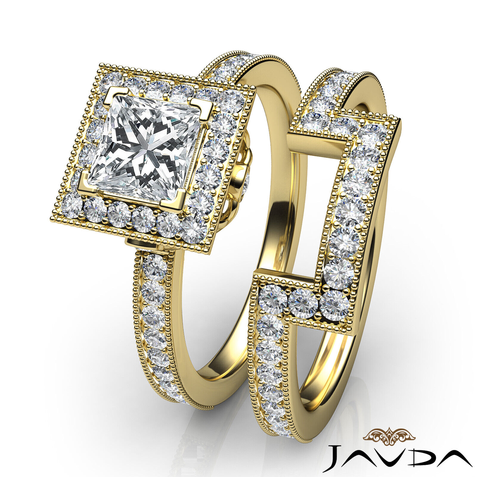 1.9ct Milgrain Edge Bridal Set Princess Diamond Engagement Ring GIA F-VS2 W Gold 11