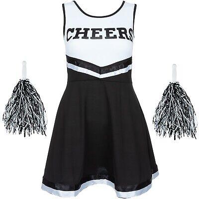 Schwarz Halloween Cheerleader Kostüm High School Uniform Kostüm + Pom Poms